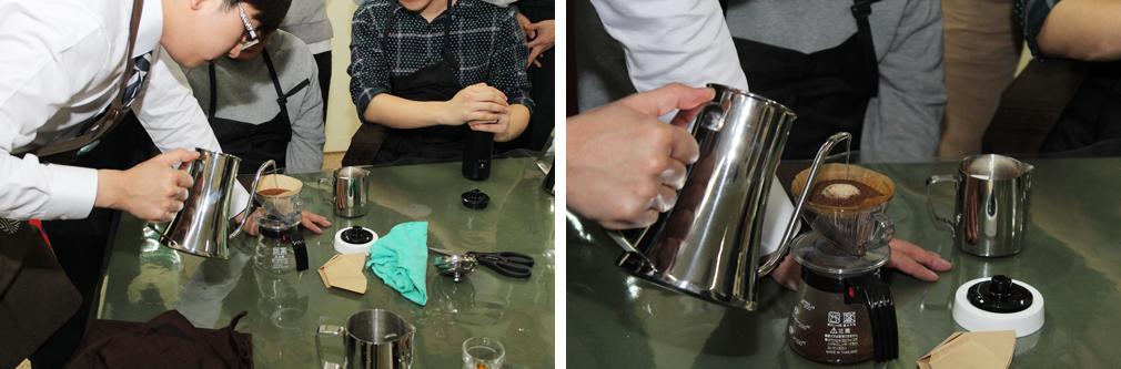 호텔식음료 - 핸드드립 커피 실습 및 교수님 카페라떼 시연